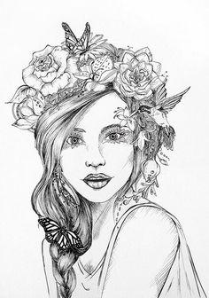 Drawn women flower crown Girl Behance by flower Find