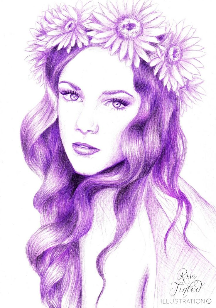 Drawn women flower crown Pin on best crown images