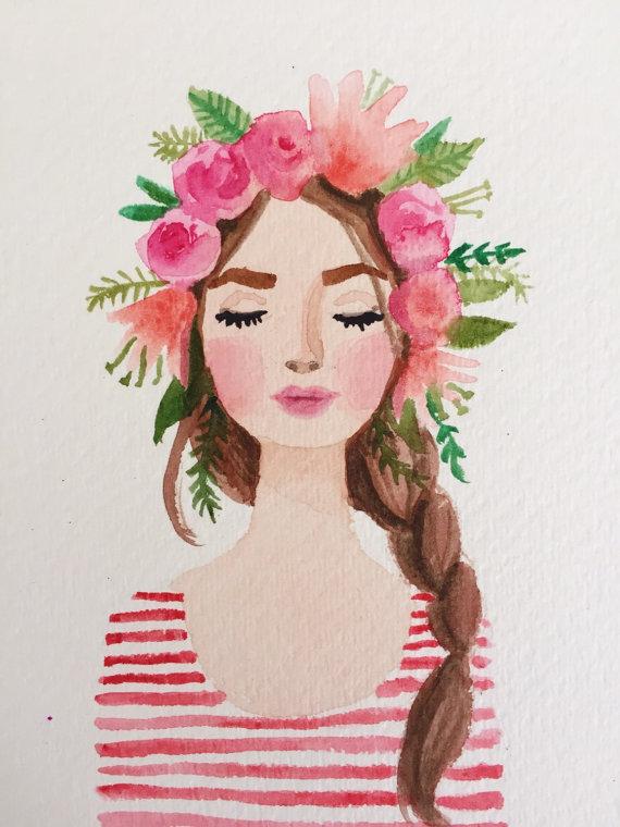 Drawn women flower crown Lips Flower Pink stripes