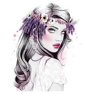 Drawn women flower crown Polyvore 6 women Easy Floral