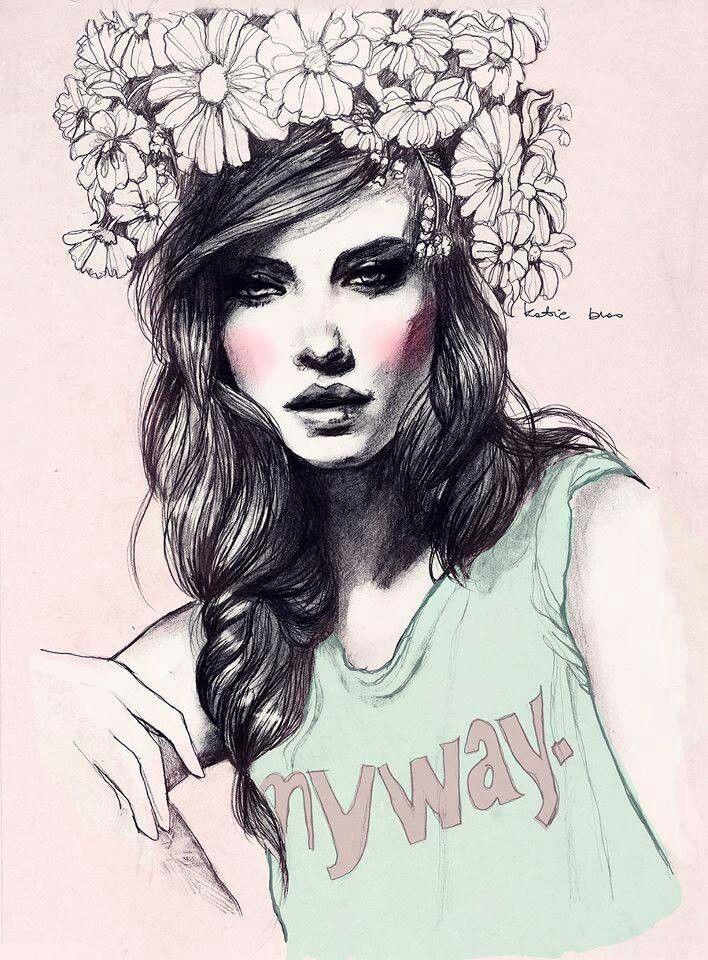 Drawn women flower headband Pencil drawing best on Pinterest