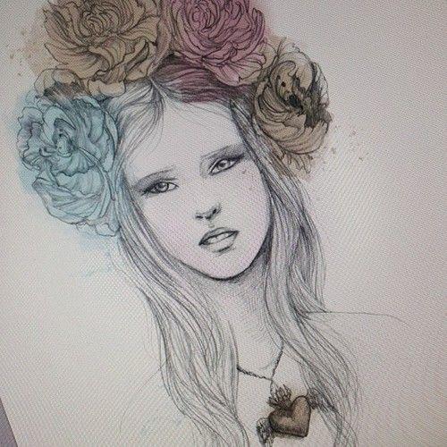 Drawn women flower headband  25+ Crown Pinterest drawing