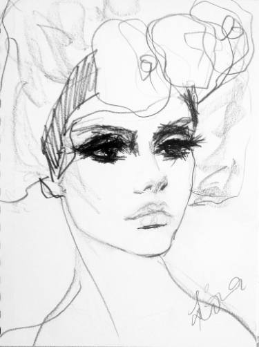 Drawn women flower headband On x graphite 7in paper