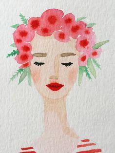 Drawn women flower headband Red flowers painting original Flower