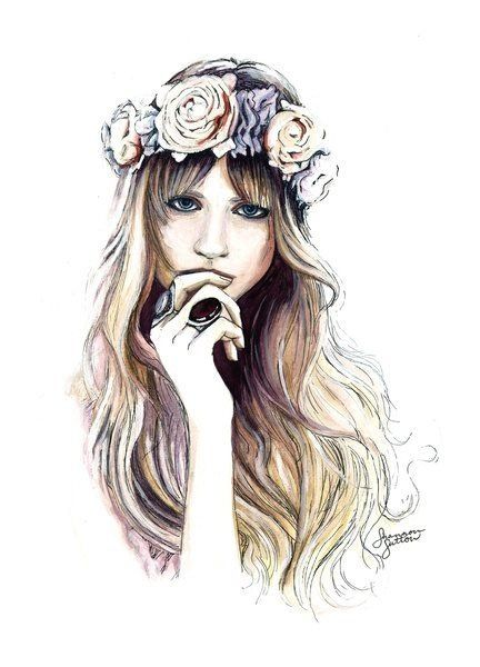 Drawn women flower headband Pinterest art The Lovers Drawing