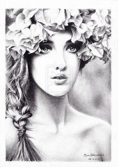 Drawn women flower headband MunaMahmoud on by More Inspire