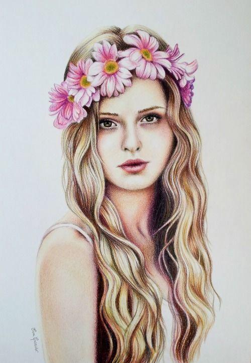 Drawn women flower headband Girl Pinterest drawing tumblr ideas