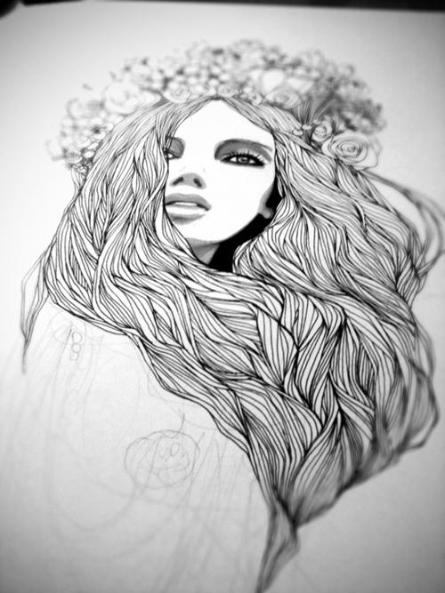 Drawn women flower headband Hairs behance illustration  Pinterest