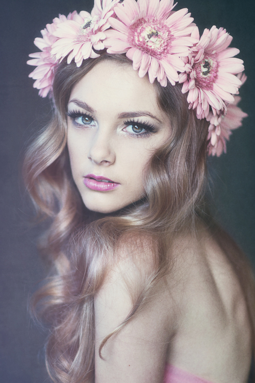 Drawn women flower headband Floral headpiece Dainty and Dainty