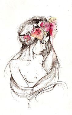 Drawn women flower headband Hadid Find Gigi portrait flower