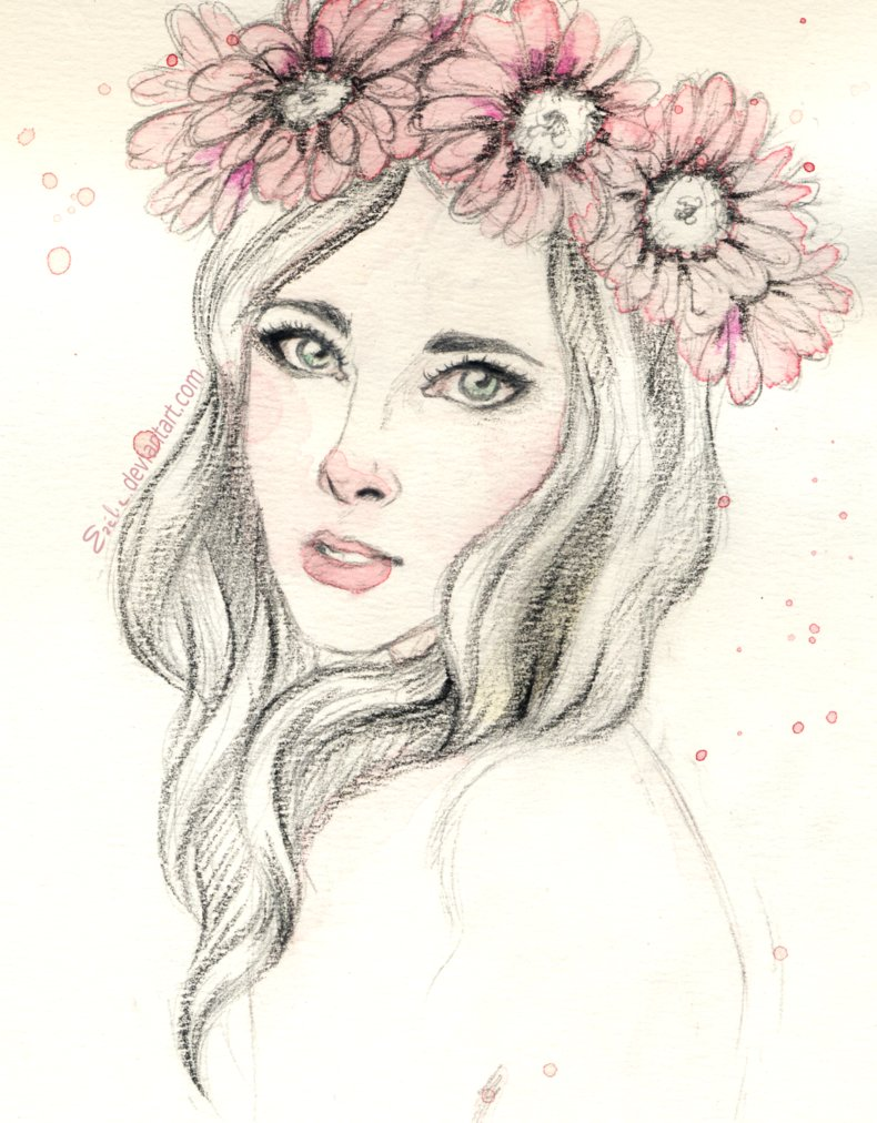 Drawn women flower headband Pink flowers Ezelie Ezelie on