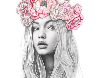 Drawn women flower headband Portrait Etsy illustration Hadid crown