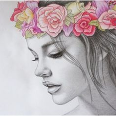 Drawn women flower headband Floral Search coloured … bedroom?