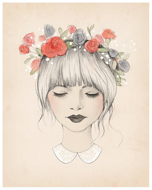 Drawn women flower headband Girl beauty Illustration poppies poppy