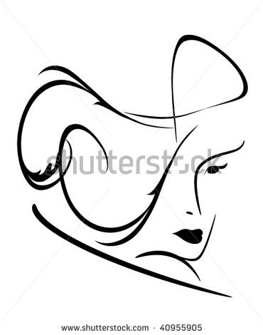 Drawn women line art Drawing silhouette on face to
