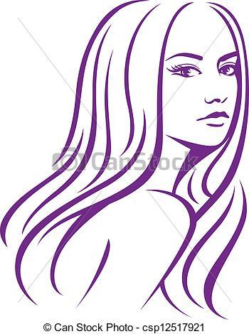 Drawn women line art Clip Women's Clip Hair Hair