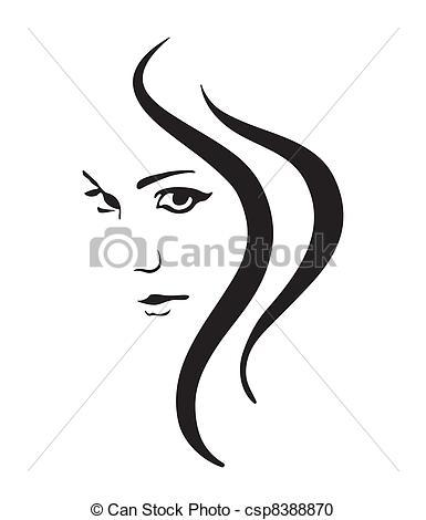 Drawn women line art Vector Girl Clipart  face
