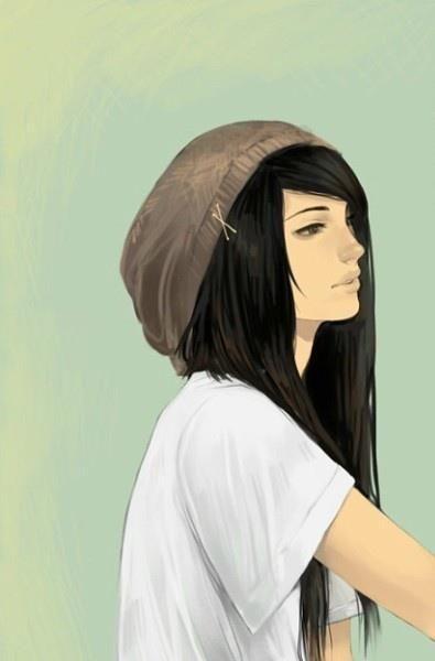 Drawn women long hair GirlAnime Emo girl on Emo