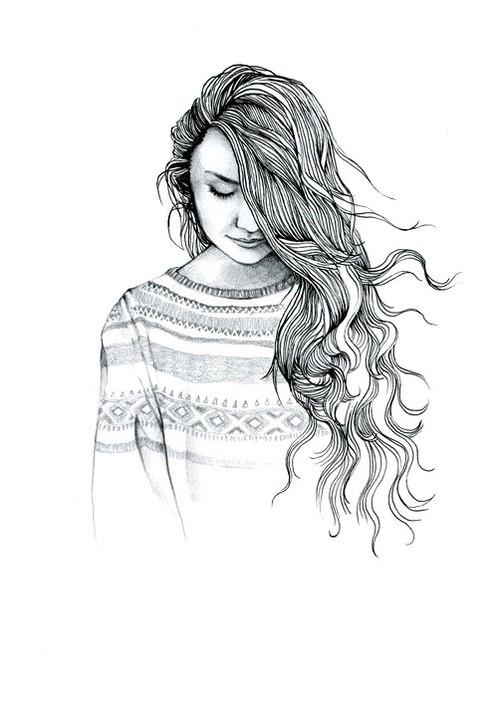 Drawn women long hair Messy Pinteres… Drawing · HairHair