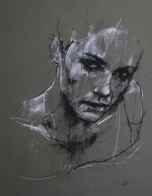 Drawn amd charcoal Woman Artist: Guy female face