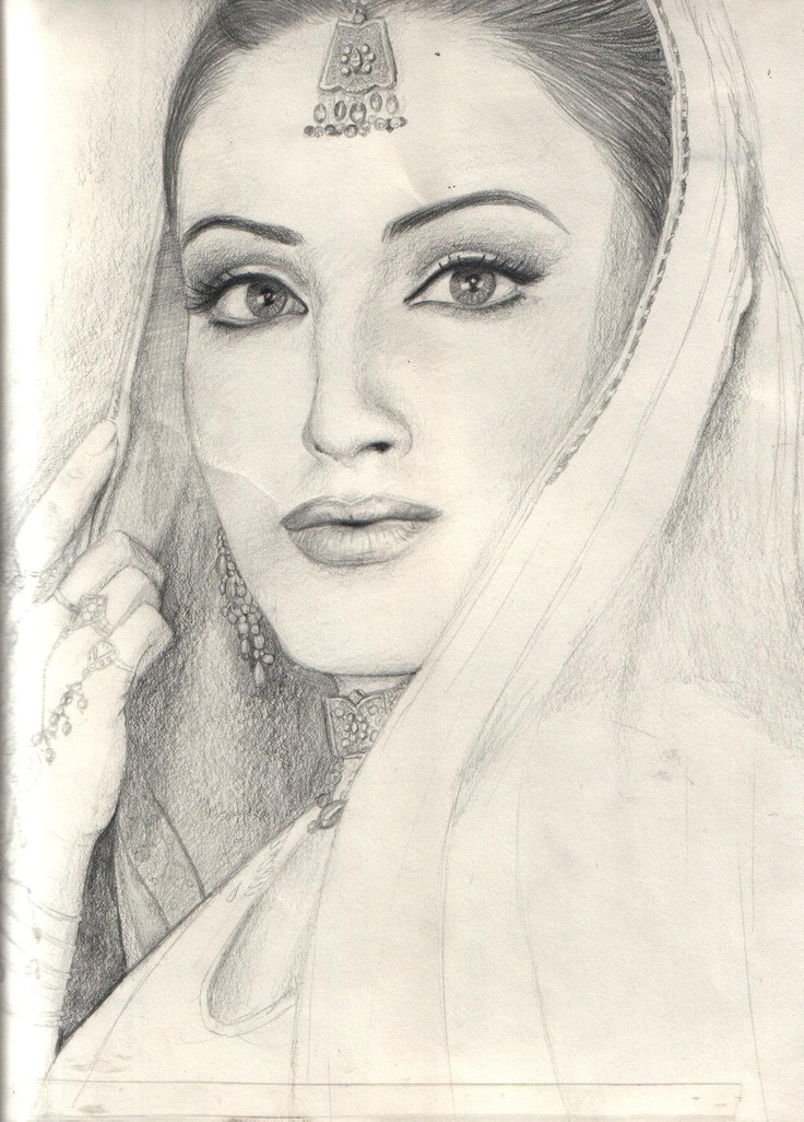 Drawn women pencil sketch Indian drawing art art Pinterest