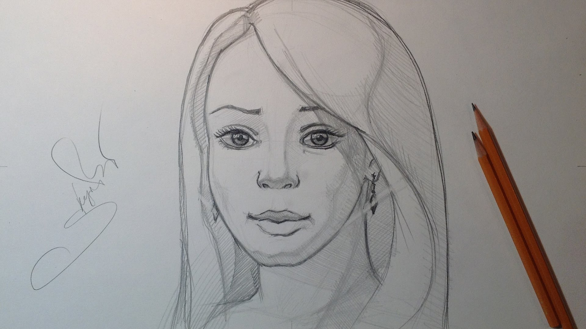 Drawn women pencil sketch / Portrait Drawing  /