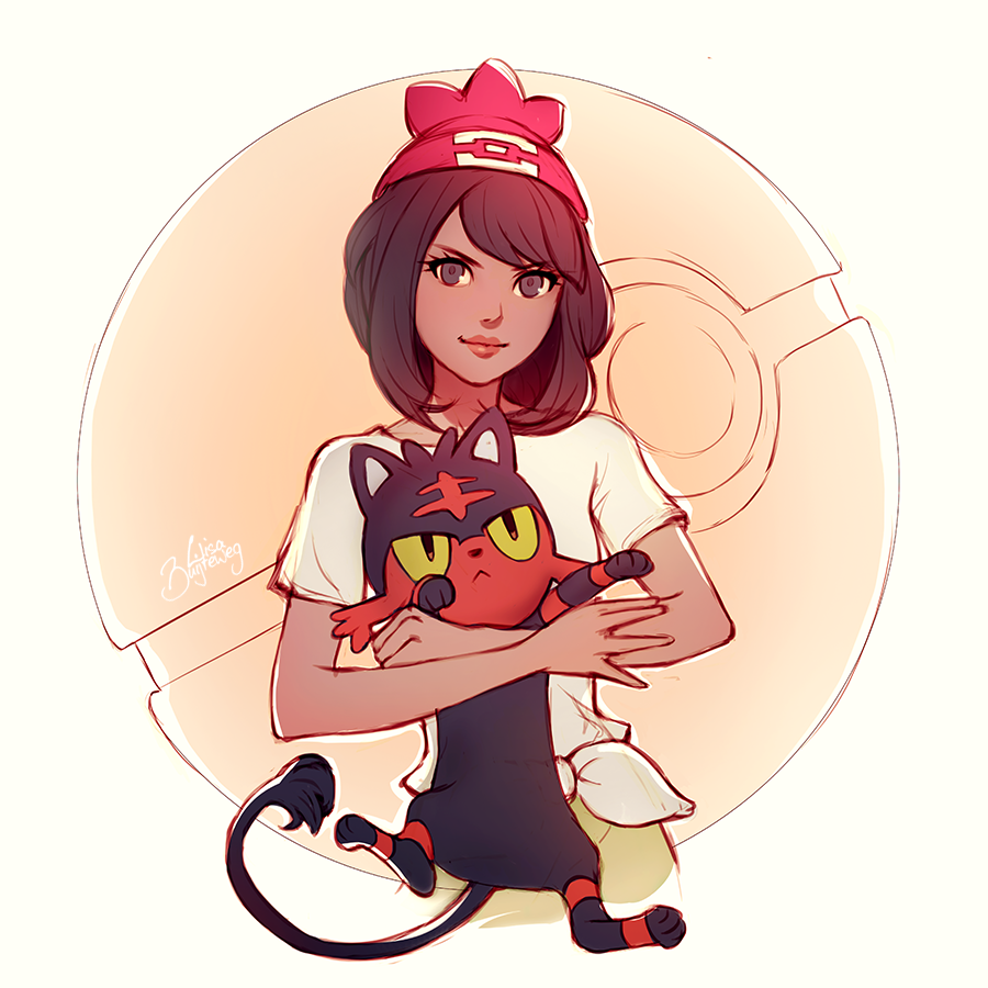 Drawn women pokemon Sketch Litten Zolaida on GENZOMAN