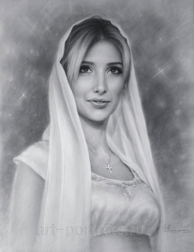 Drawn portrait beautiful woman Of beautiful on by