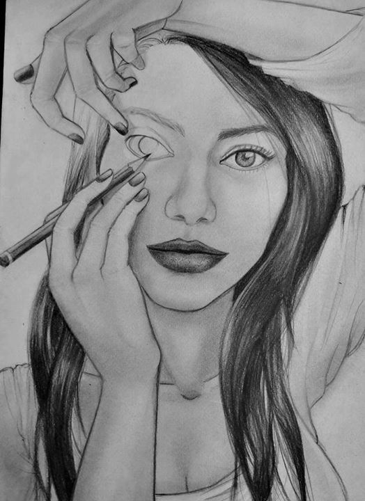 Drawn women real face · just