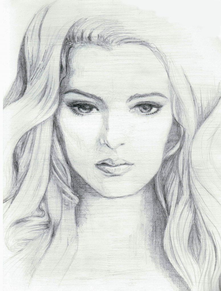 Drawn women real face Pencil and Drawing Kids To