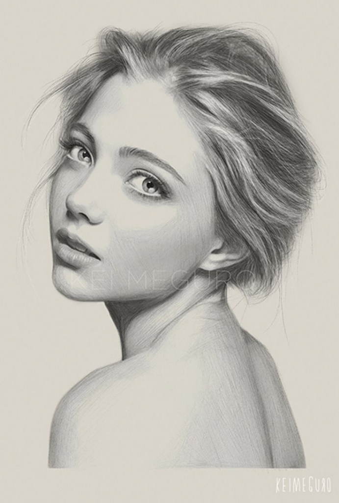Drawn women real face Face In This Drawings To