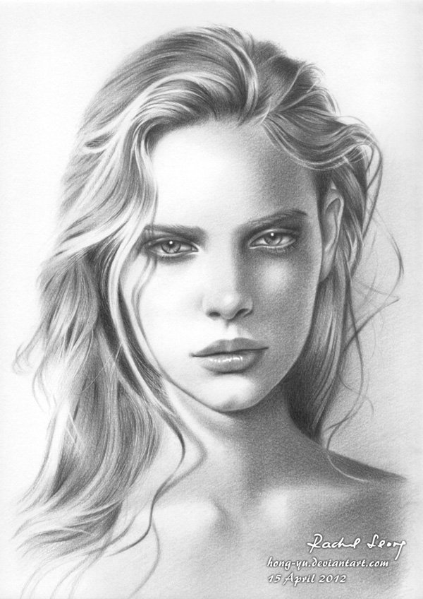 Drawn portrait black and white Drawings by Hong Drawings Yu