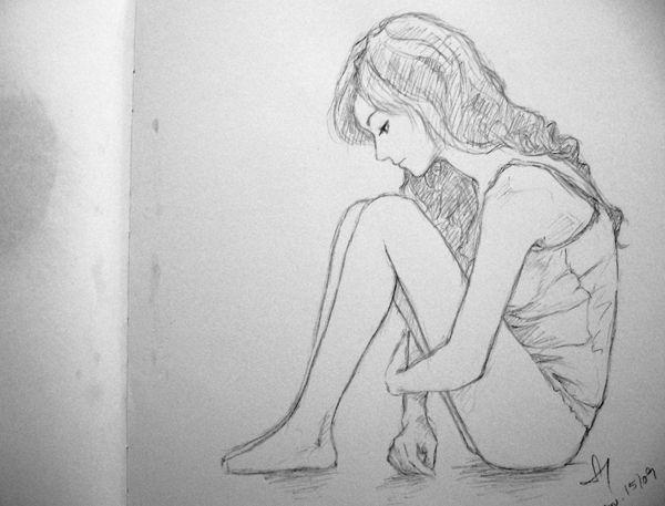 Drawn sad sad woman A drawing on ideas Sad