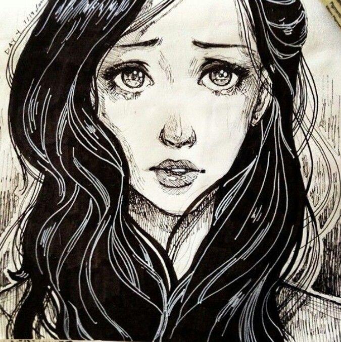 Drawn women sad Girl ideas girl drawing The