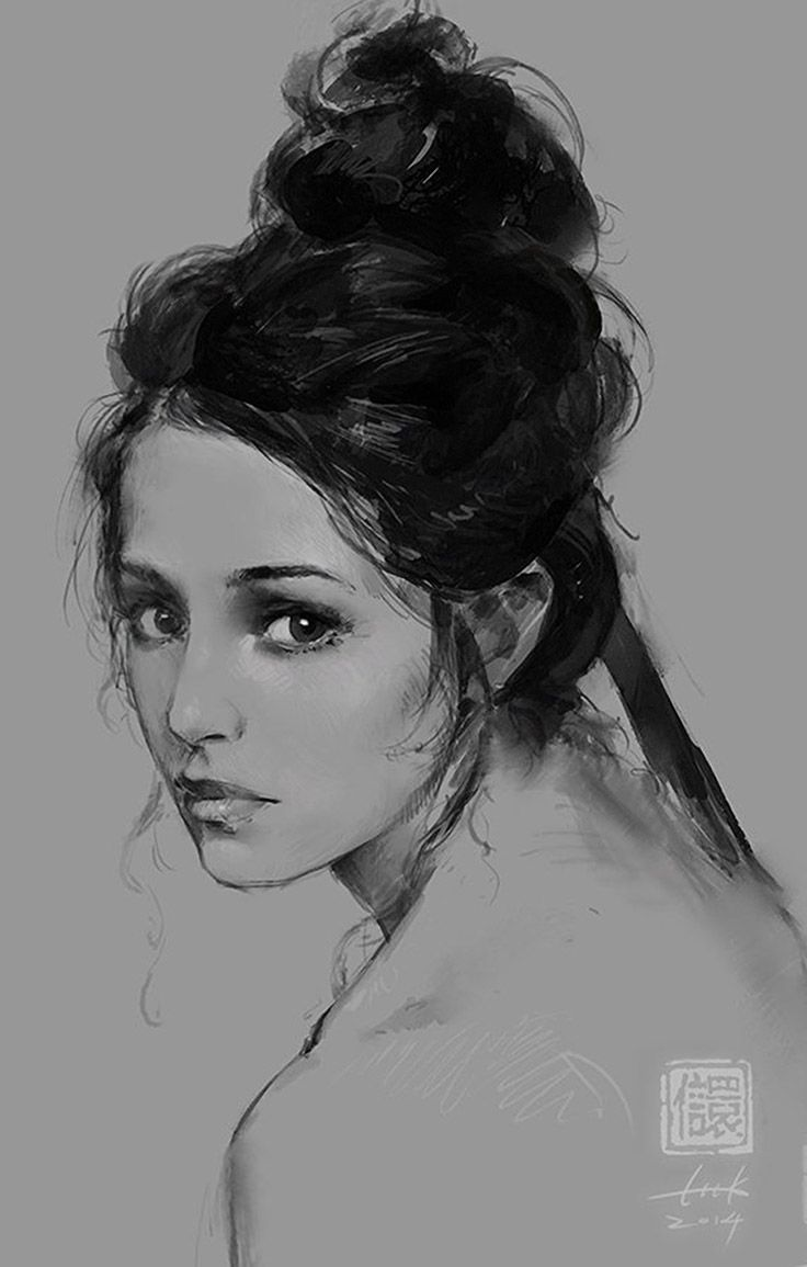 Drawn portrait beautiful woman Drawing