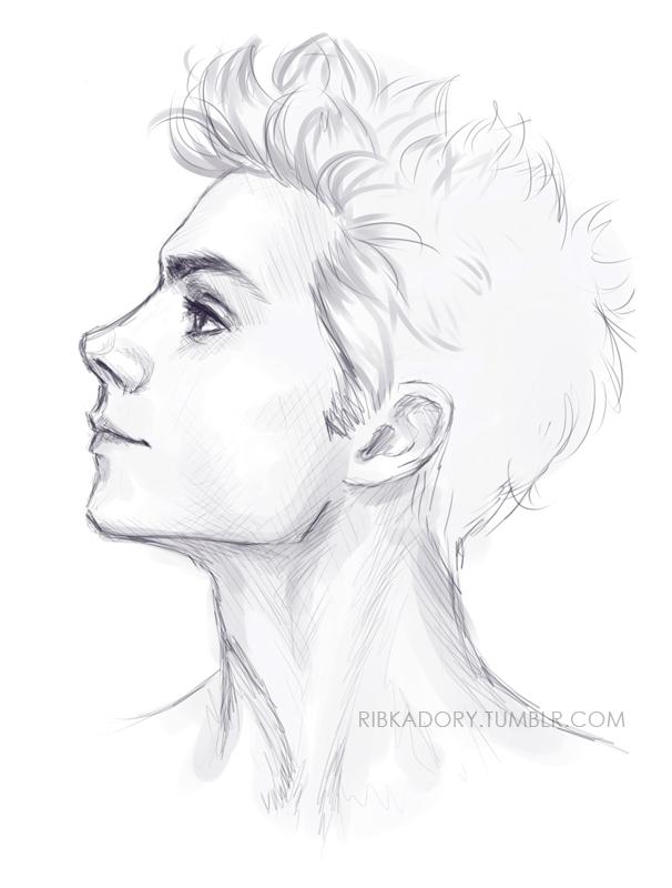 Drawn women slender Lips neck tomato full jaw