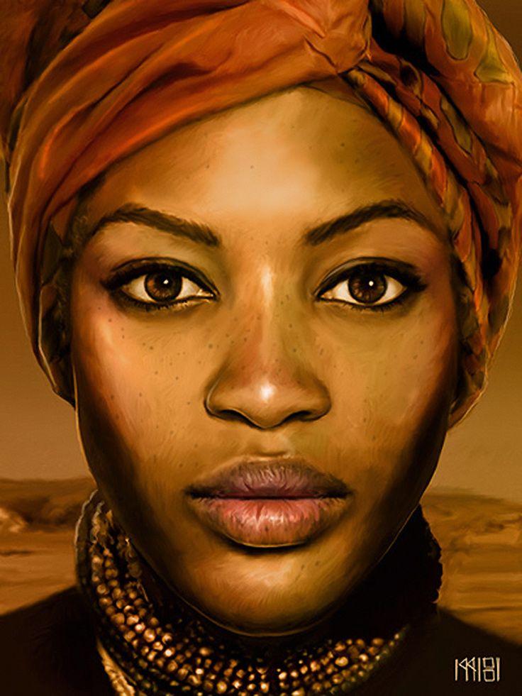 Drawn women strong woman Art on figurative african Sira
