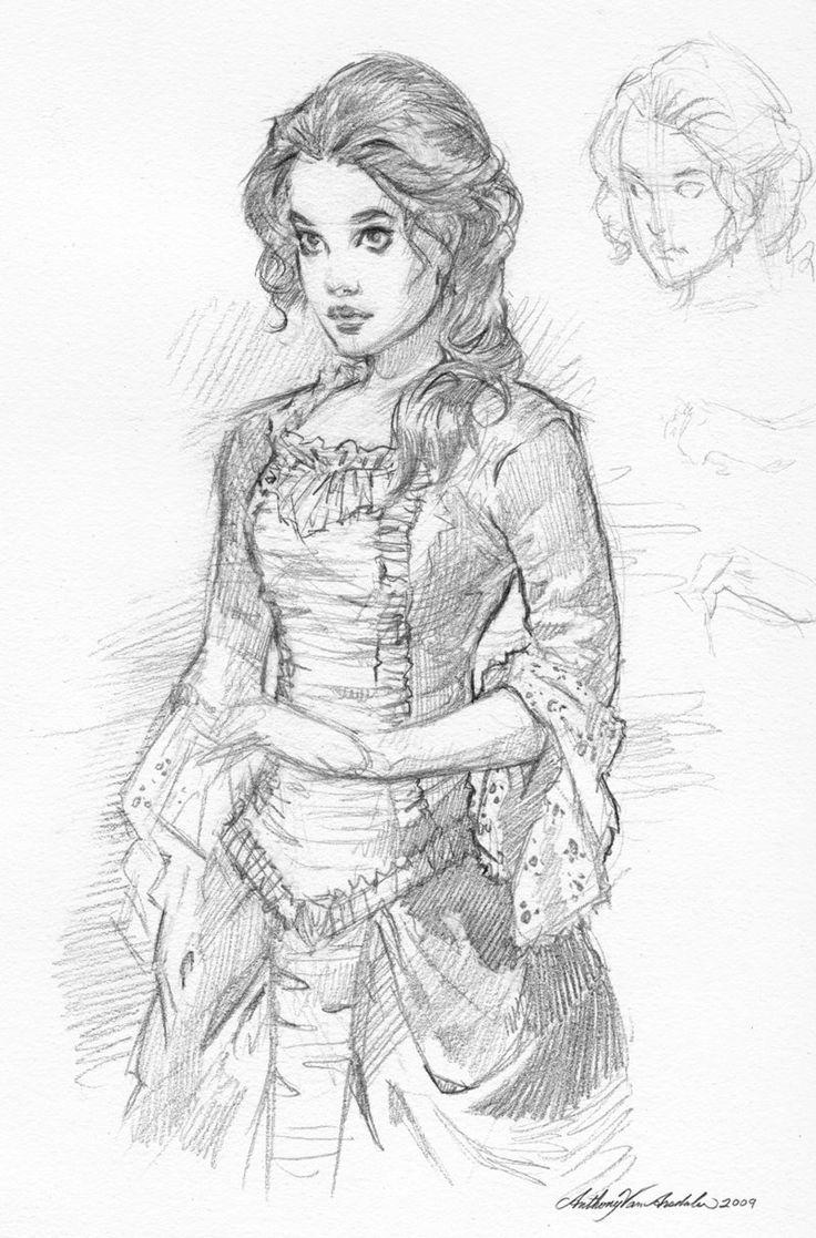 Drawn portrait victorian Volti victorian women  draw
