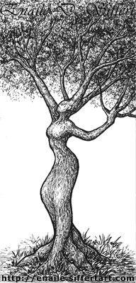 Drawn women woman's Woman Pinterest Tree and woman