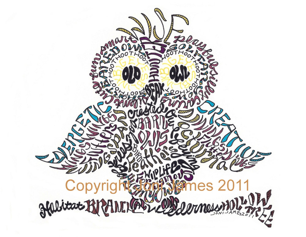 Drawn word And images 20 Art Owl