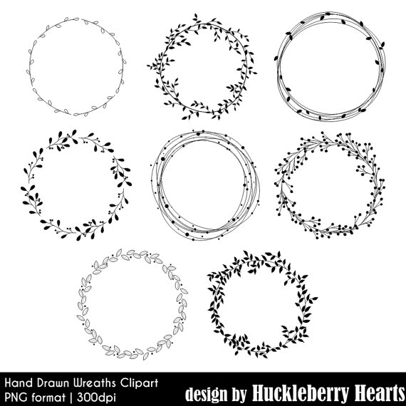 Wreath clipart hand drawn Clipart Clipart Printable Leaves Wreath