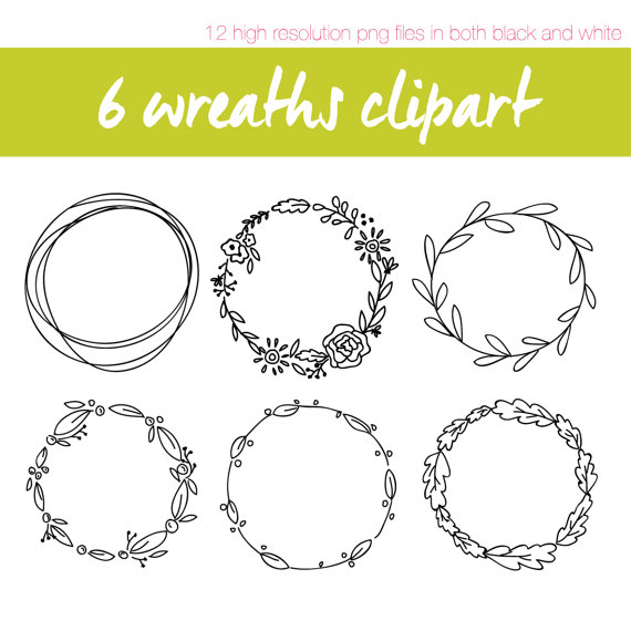 Wreath clipart hand drawn Wreaths // // High Resolution