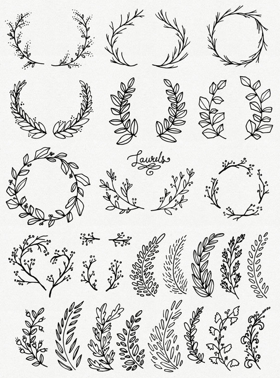 Wreath clipart old pen Whimsical // // Laurels Brushes
