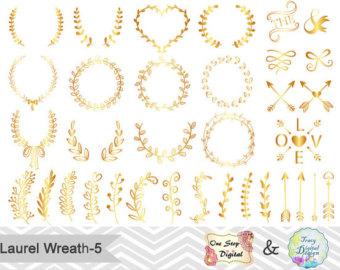 Wreath clipart gold leaf Digital Branches Laurel Gold Laurel