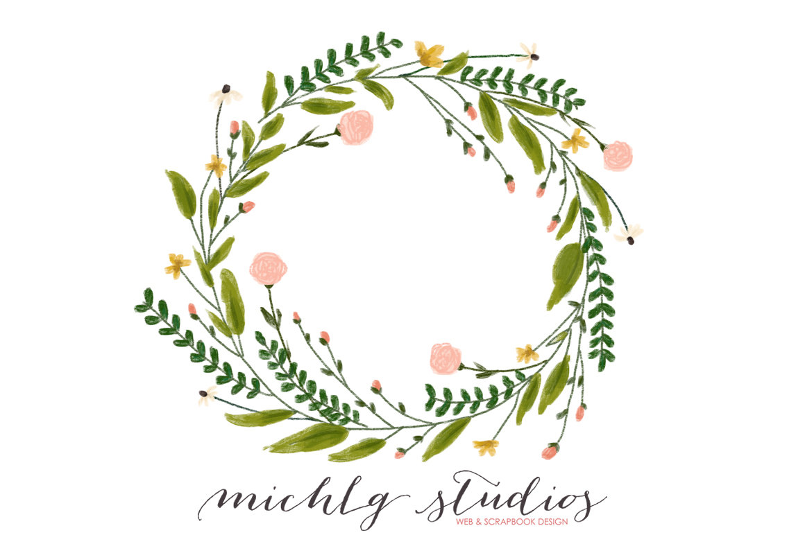 Wreath clipart digital Floral wreaths clipart drawn digital