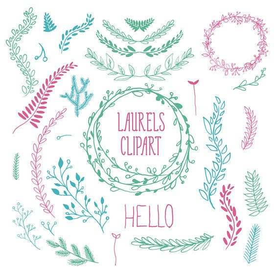 Wreath clipart digital Laurel by PrintableRandoms Flower Hand
