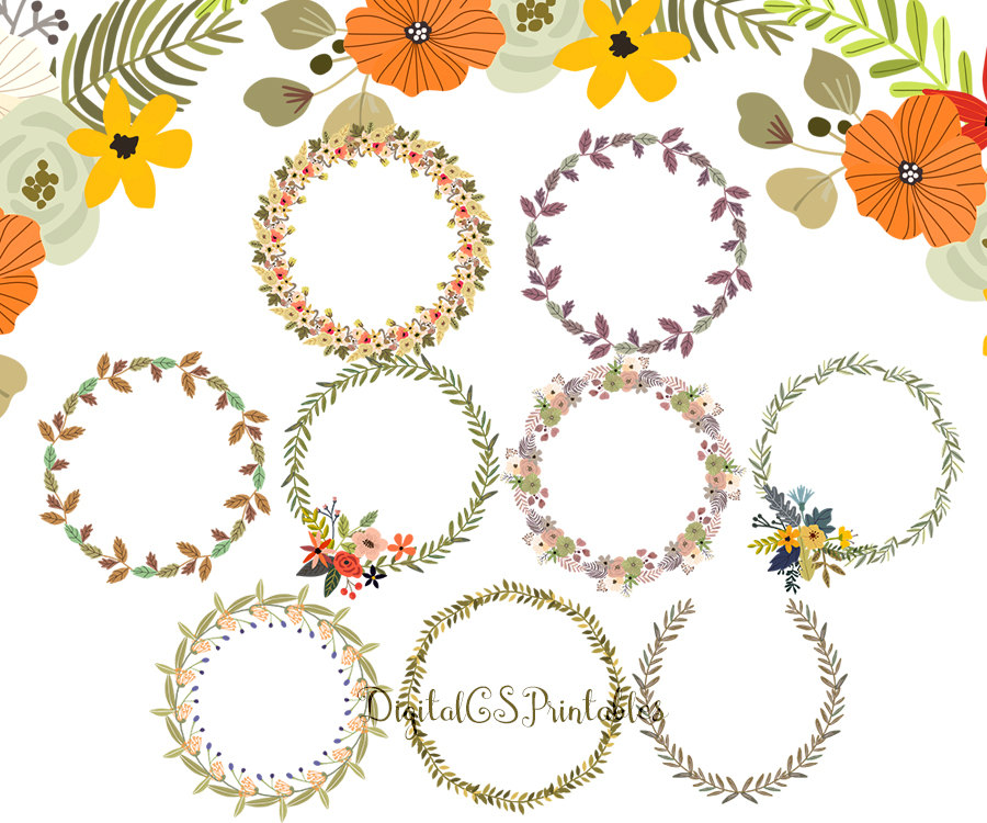Wreath clipart digital This clipart hand Leaf Floral