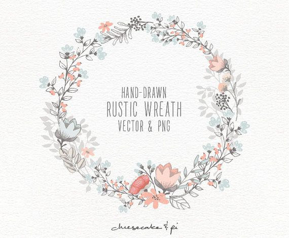 Wreath clipart flower illustration Wreath 25+ floral flowers wreath: