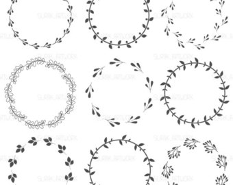 Wreath clipart hand drawn Drawn vector Files design laurels