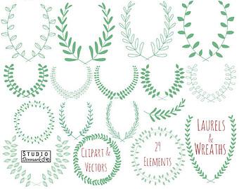 Drawn leaves detailed Etsy Wreath Hand Clip Leaf